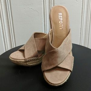 Report Blush Pink Wedge Sandals (6.5)